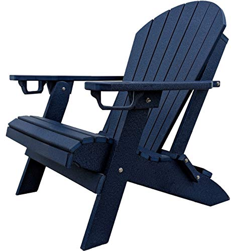 Classic Collection Folding Adirondack Chair - DuraWeather Poly Folding Adirondack - Unwind Edition Featuring Built-in Cup Holders (Nautical Navy)