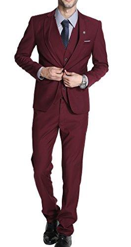 MOGU Mens Suits Slim Fit 3 Piece US Size 30 Wine Red