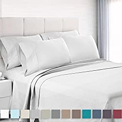 "Premium 6-Piece Bed Sheet & Pillow Case Set – Luxurious & Soft King Size Linen, Extra Deep Pocket Super Fit Fitted White Sheets, Bedroom Essentials, BONUS 2 Pillowcases & ""Better Sleep Guide"""
