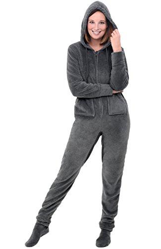 Alexander Del Rossa Womens Fleece Onesie, Hooded Footed Jumpsuit Pajamas, Medium Steel Grey (A0322STLMD)