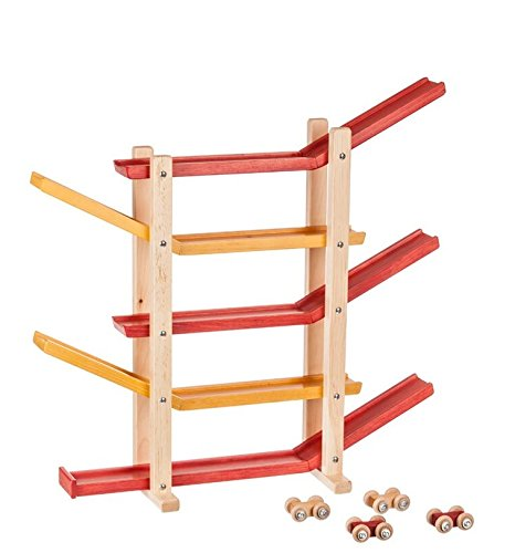Wooden Toy Car Roller Track USA Handcrafted Classic Wood Game, Primary Colors Classic Handcrafted Wooden Toy Car