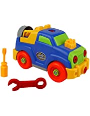 TONZE Assembly Toys Assembly Disassemble Car Toys Take-apart Jeep Car Toys for kids 3 4 5 Year Olds and up