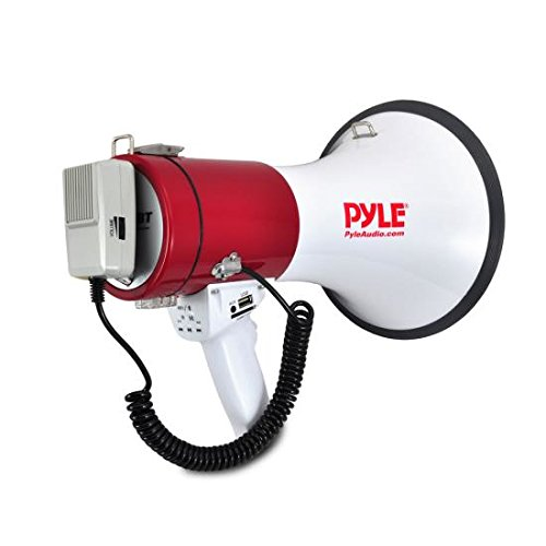 Pyle Megaphone Speaker PA Bullhorn with Built-in Siren - 50 Watts Adjustable Volume Control and 1200 Yard Range - Ideal for Football, Soccer, Baseball, Hockey and Basketball Cheerleading Fans and Coaches or for Safety Drills (PMP52BT)]()
