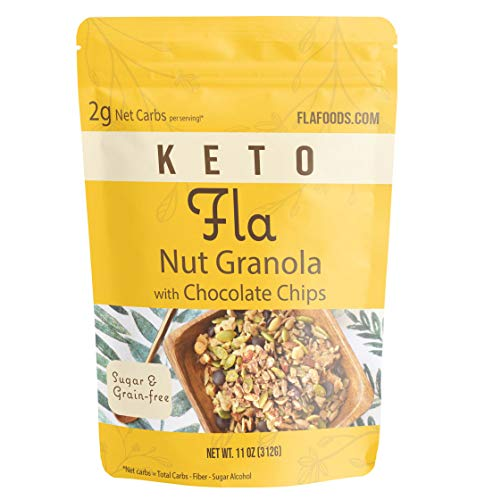 Keto Granola Fla Low Carb Cereal with Chocolate Chips - Vegan, Sugar & Grain Free Nut Snacks, Ketogenic Diet Friendly, Healthy Snack & Breakfast Food - 11oz bag (11 servings) 1