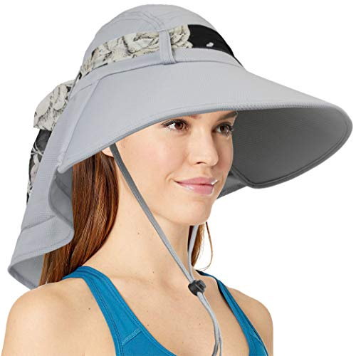 Womens Sun Hat, Summer UV Protection Outdoor Hat with Wide Brim, Neck Cover Flap, and Adjustable Chin Strap | UPF50 + Breathable Foldable Ladies Cap for Gardening, Hiking, Fishing (Grey)