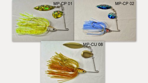 Akuna [3MP-CP] Pack of Three Mixed Colors Custom Hand Painted Holographic Fishing Lures with Willow/Colorado Blades, 1/2 oz (Hand Painted Lures)