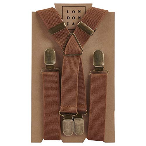(Elastic Suspenders for grooms, groomsmen, ring bearers attire with Brass Clips - By London Jae Apparel (Cognac, Kids Large) )
