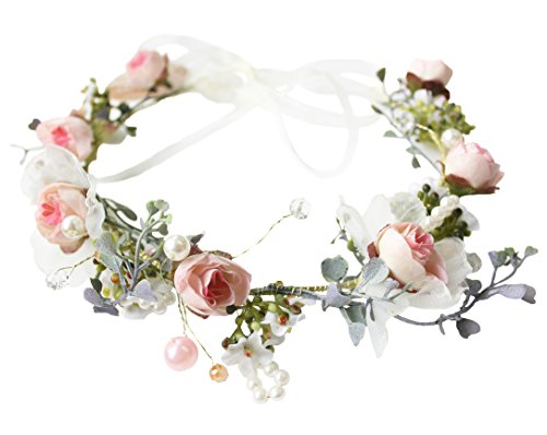 Vivivalue Pearl Flower Crown Floral Garland Headband Flower Halo Headpiece Hair Wreath Boho with Ribbon Party Wedding Festival Photos Pink -