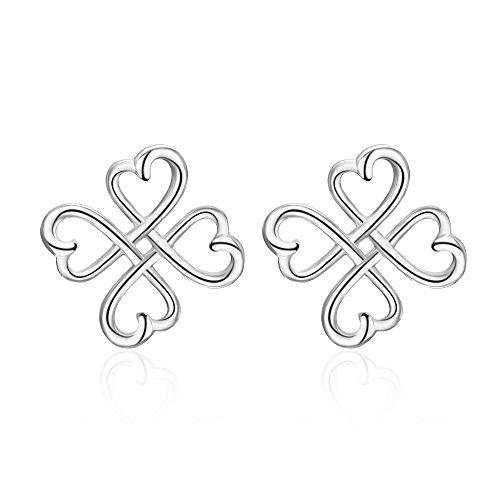 (Celtic Knot Stud Earrings Sterling Silver Irish Good Luck Celtics Loving Heart Clover Earrings Studs Jewelry for Women Teen Girls)