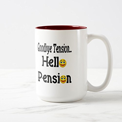 3401 T-shirt (Zazzle Hello Pension Retirement Gifts and T-shirts Coffee Mug, Maroon Two-Tone Mug 15 oz)