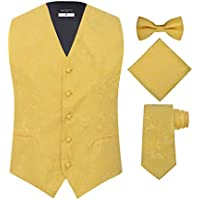 Men's 4 Piece Paisley Vest Set, with Bow Tie, Neck Tie & Pocket Hankie