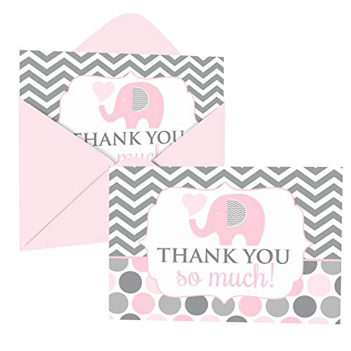 Pink Elephant Thank You Cards and Envelopes (20 Pack) – Thanking for Girls Baby Shower – Gender Reveal – Birthday – Everyday – Jungle Animal Party Supplies – Folded Set