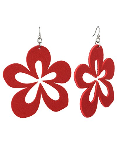 Women's Faux Leather Flower Petal Dangle Pierced Earrings, Red Dangling Faux Earrings
