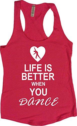 Orange Arrow Women's Life Is Better When Dance Terry Tank (Small, Raspberry Pink)