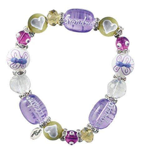 Clementine Design Kate & Macy Grandma's Love Bracelet Painted Glass Beads Rhinestones ()