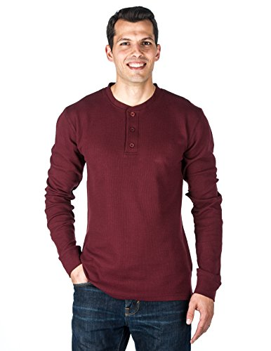 Mens Solid Thermal Henley Long Sleeve T-Shirts - Burgundy - Medium