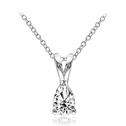 Ice Gems Sterling Silver Cubic Zirconia 6x4mm Teardrop Solitaire Necklace With 18 Inch Chain