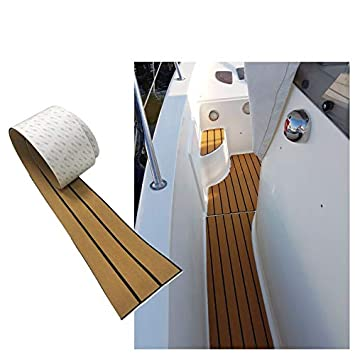ヨット用フローリングシートノンスリップ自己粘着 190cm×70cm×5mm デッキマット滑り止めEVAのフォーム人工チーク材ボート (菱形グレー+ブラック)