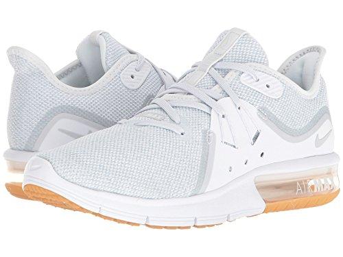 つぶす詐欺師なしで(ナイキ) NIKE レディースランニングシューズ?スニーカー?靴 Air Max Sequent 3 White Pure Platinum 5.5 (22.5cm) B - Medium
