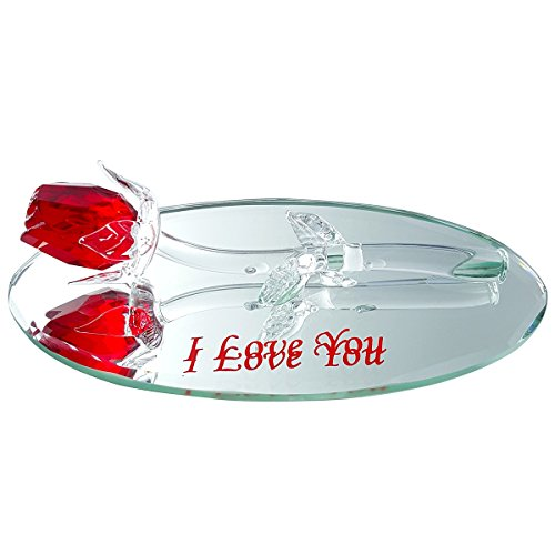 (Crystal Red Rose on Mirror with I Love You Engraving By Crystal Florida )