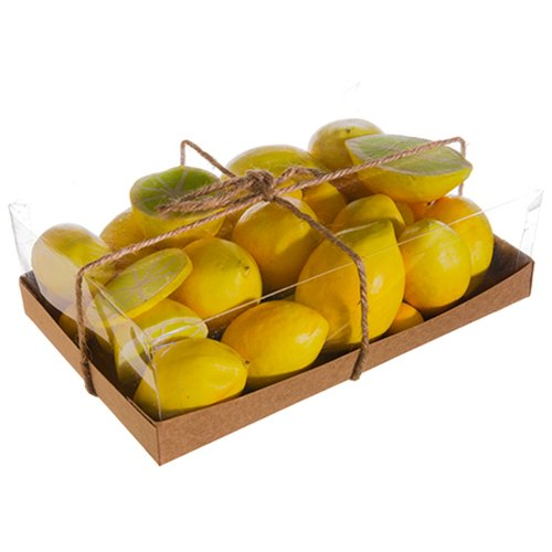 3''Hx6''Wx9''L Artificial Boxed Lemon -Yellow (pack of 6) by SilksAreForever