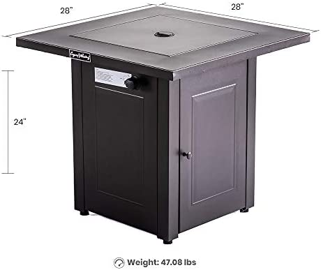 LEGACY HEATING 28-Inch Propane Fire Pit Table Gas Square Outdoor Dinning