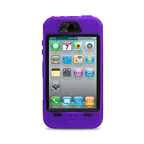Purple Rugged Hard Rubber Case & Cover For iPhone 4 / 4S & Screen Protector