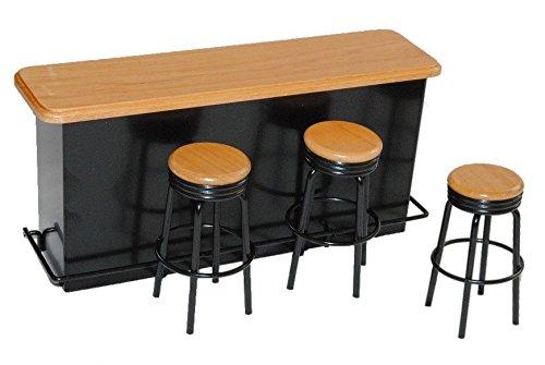 Bar mit 3 Hocker aus Metall / Holz schwarz Miniatur - Maßstab 1:12 - Puppenstube Puppenhaus Miniaturbar - Küche - Küchenmöbel - Diorama Cocktailbar - Cocktails