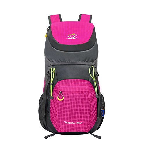 OrrinSports Men's Outdoor Sports Polyester Lightweight Internal Frame Backpack with Waterproof Material 40L-Pink