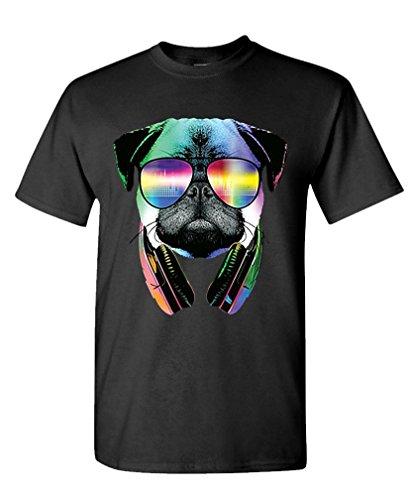 NEON DJ PUG HEADPHONES T Shirt