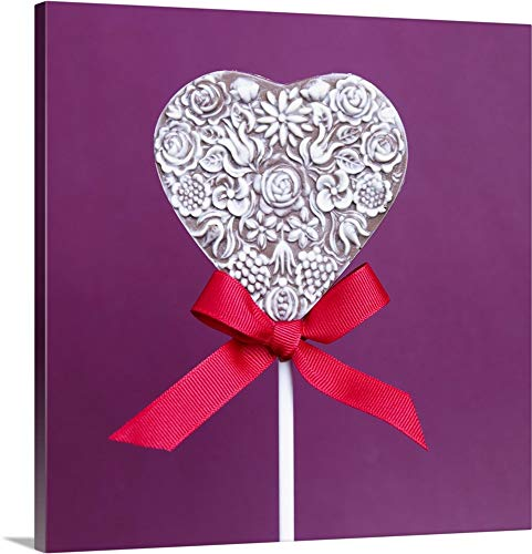 Milk and White Chocolate Heart Lollipop with Red Ribbon - Canvas Wall Art Gallery Wrapped Ready to Hang - (Milk Chocolate Lollipop)
