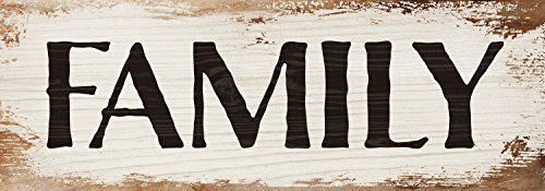 Family Sign - Family Bold White Wash 16 x 6 Inch Solid Pine Wood Plank Wall Plaque Sign