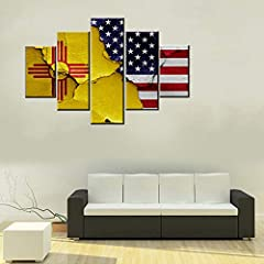 Wall Decor Description:Native American Flag,The flags of New Mexico The flag of the U.S. state of New Mexico consists of a red sun symbol of the Zia on a field of yellow, and was officially introduced in 1925. It was designed in 1920, to high...