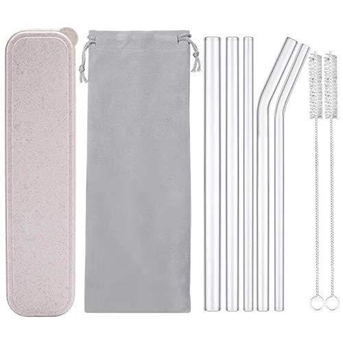 Reusable Glass Drinking Straws, Healthy Smoothie Straws, ECO Friendly - BPA Free, 9