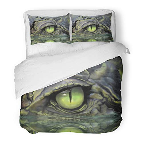 Bed Little Lizard Twin (Emvency Decor Duvet Cover Set Twin Size Green Alligator Drawing of Crocodile Eye Brown Animal Skin Lizard Reptile Mouth Face Painting 3 Piece Brushed Microfiber Fabric Print Bedding Set Cover)