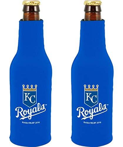 MLB Baseball Team Color Logo Bottle Suit 12oz Neoprene Holder Zipper Sleeve Cooler 2-Pack (Kansas City Royals) ()