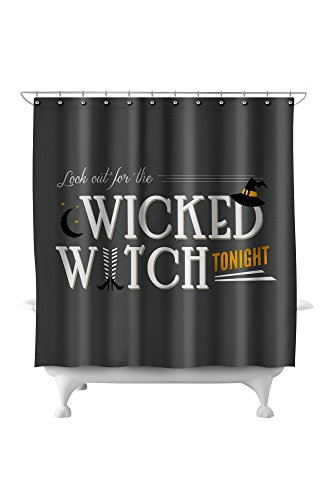 Look Out For the Wicked Witch - Happy Halloween (71x74 Polyester Shower Curtain)