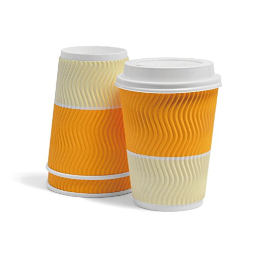 Triple Walled Disposable Coffee Cups With Lids - Wave Insulted Ripple Design For Maximum Insulation - Leak-proof Paper Cup For Coffee, Hot Chocolate & Tea - 12 oz, 50 Pack, Golden Yellow
