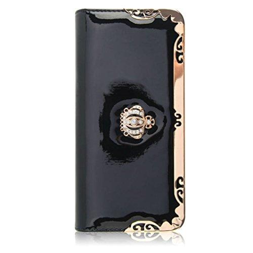 BestWare Long Wallet PU Leather Purse Crown Wallets For Women Black