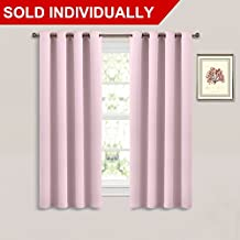 NICETOWN Nursery Window Blackout Curtains - Essential Thermal Insulated Pink Solid Grommet Drape / Rideau (Single Panel,52 by 63-Inch, Pale Pink)