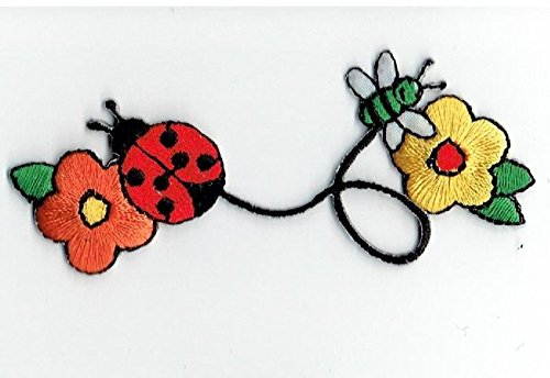 Ladybug and Bee with Daisy Flowers Iron on Embroidered Patch Ladybug Embroidered Iron