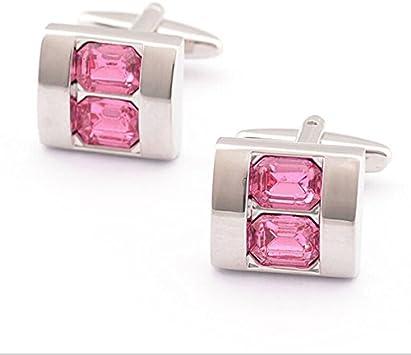 Gemelos para camisa de hombre marca Pixnor estilo cristal (rosa): Amazon.es: Belleza