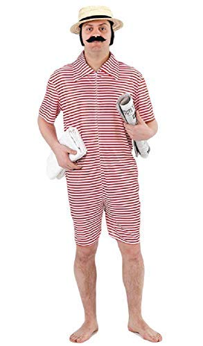 Mens 1920s Red or Blue Bathing Swimming Beach Suit Fancy Dress Costume Outfit (Red)]()
