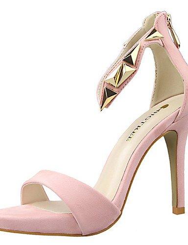ZQ Zapatos de mujer-Tac¨®n Stiletto-Tacones / Punta Abierta-Sandalias-Fiesta y Noche-Terciopelo-Negro / Rosa / Rojo / Plata / Gris / Oro , golden-us8 / eu39 / uk6 / cn39 , golden-us8 / eu39 / uk6 / cn pink-us6.5-7 / eu37 / uk4.5-5 / cn37