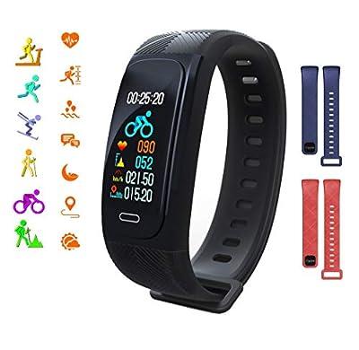 Smart Watch GPS Smart Bracelet Fitness Tracker Heart Rate Monitoring Activity Tracker Black Red Blue Replaceable Strap 6 Sports Mode Monitoring IP68 Waterproof Sports Bracelet