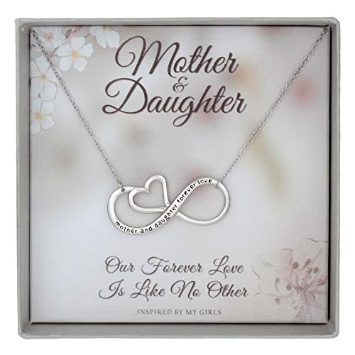 Sterling Silver Mother Daughter Necklace Forever Love Infinity Heart Pendant and Keepsake Card Gift