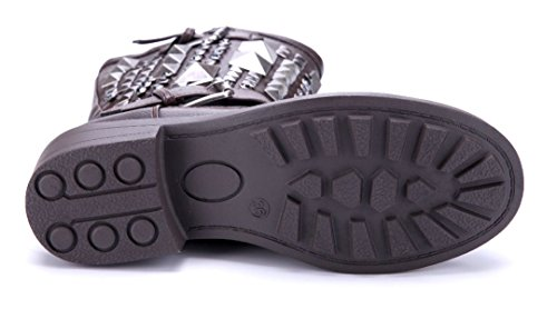 3510ad5abf16ae ... Schuhtempel24 Damen Schuhe Boots Stiefel Stiefeletten Blockabsatz  Schnalle Nieten Ziersteine 5 cm Braun ...