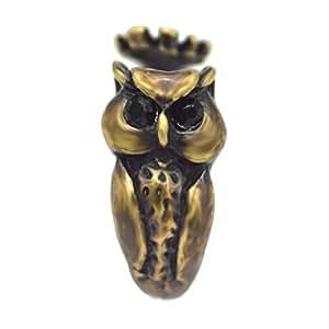 Lucky Owl Ring Women's Girl's Animal Bird Ring Jewelry Wrap Ring Black Crystal Gift Idea