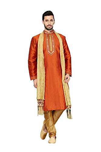 itsindiancrafty Mens Kurta Pajama Wedding Art Dupion Rust India Party Wear Set Of 3 2 by itsindiancrafty