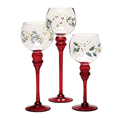 Pfaltzgraff Stemmed Winterberry Candleholders (Red, Set of 3)